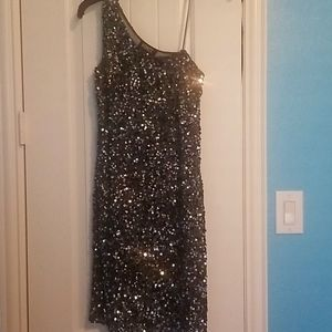 Charcoal black and silver sequined midi dress